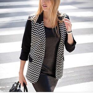 Karen Kane Shirred Sleeve Chevron Blazer